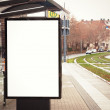 Billboard, banner, empty, white at bus stop — Stock Photo #24900247