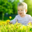 Baby girl on a green meadow with yellow flowers dandelions on th — Stockfoto