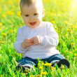 Baby girl on a green meadow with yellow flowers dandelions on th — Stock Photo