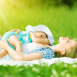 Happy family. Mother and baby are resting, relax sleep — Stock Photo