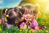 Happy girls twin sisters kissing and laughing in the summer outd — Stock Photo