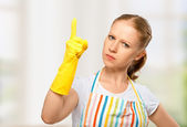 Angry strict housewife — Stock Photo