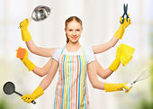 Concept idea. omnipotent universal woman housewife with many han — Stock Photo
