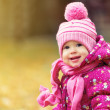 Happy baby girl child outdoors in the park in autumn — Stock Photo