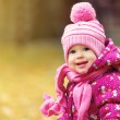 Happy baby girl child outdoors in the park in autumn — Stock Photo #32834607
