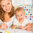 Mother and baby draw color pencil — Stock Photo #33190783