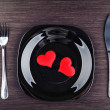 Plate, fork, knife and red heart — Stock Photo