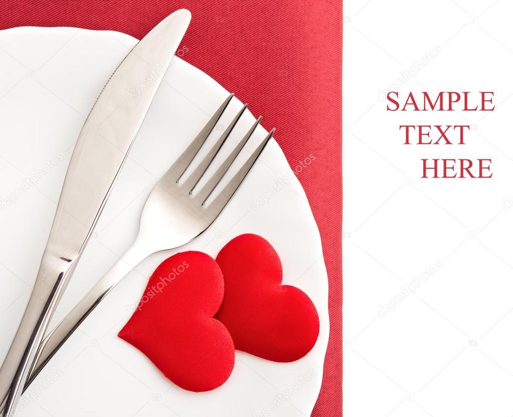 Corazones de plato tenedor cuchillo y rojo foto de for Plato tenedor y cuchillo