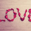Background Valentine's Day. word love petals of red roses on a w — Stock Photo