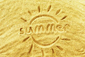 """The word """"summer"""" on yellow sand — Stock Photo"""