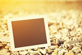 Concept of internet and communication. blank tablet computer on  — Stock Photo