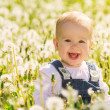 Happy baby girl on meadow with white flowers on the nature — Stock Photo
