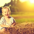 Happy baby girl laughing on hay in summer — Stock Photo #48433209