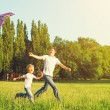 Dad and son child flying a kite in summer nature — Stock Photo #50881215