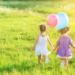 Happy girls twin sisters  with balloons in summer field on nature — Stock Photo #51047101