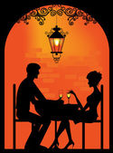 Silhouette of a Couple at restaurant — Stock Vector