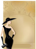 Lady in black at retro poster — Stock Vector