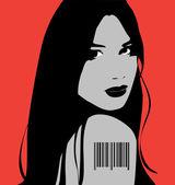 Girl with bar code — Stock Vector