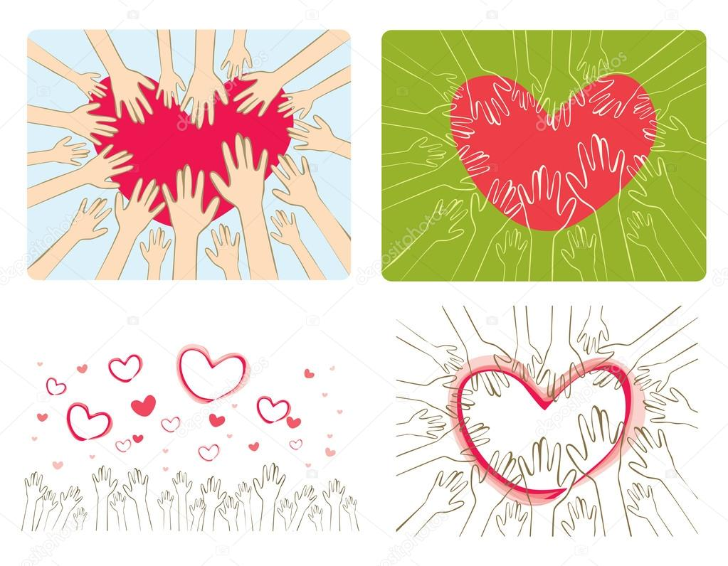 矢量插画之手伸向心脏 — 矢量图片作者 v.g.