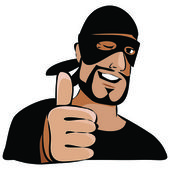 Man in black mask with thumb up — Stock Vector