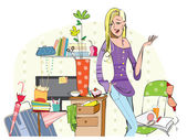 Young girl in a messy room — Stock Vector