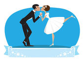 Bride and a bridegroom kissing — Stock Vector