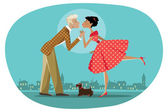 Romantic retro couple kissing — Stock Vector