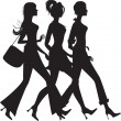 Silhouette of three shopping girls — Stock Vector #6843866