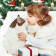 Girl hugging a cat on a background of the Christmas tree - Stock Photo