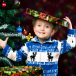 Boy on the background of the Christmas tree — Stock Photo
