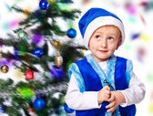 Boy in a cap of Santa Claus — Stock Photo