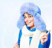 Woman in a warm hat — Stock Photo