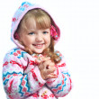 Beautiful little girl wearing a jacket on a white background — Stock Photo