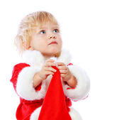 Little girl dressed in Santa Claus — Stock Photo