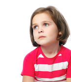 Portrait of a sad girl o in red shirt on a white background — Stock Photo