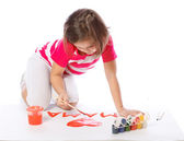 Little girl draw, paint, heart, Valentine's Day, March 8 — Stock Photo