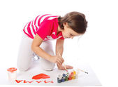 Little girl draw, paint, heart, Valentine's Day, March 8 — Stock fotografie