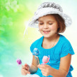 Portrait of a little girl holding Easter eggs, holiday, Easter — Foto de Stock