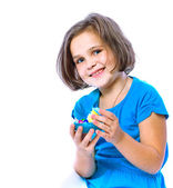 Portrait of a little girl holding Easter eggs, holiday, Easter — Stock Photo