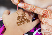 Henna art on woman — Stock Photo