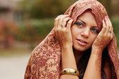 Beautiful girl painted Mehandi — Stock Photo