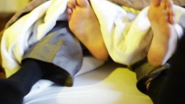Groom and bride overslept — Stock Video