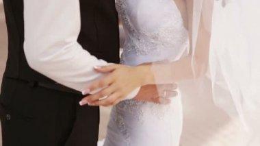 Groom hugs bride — Stock Video