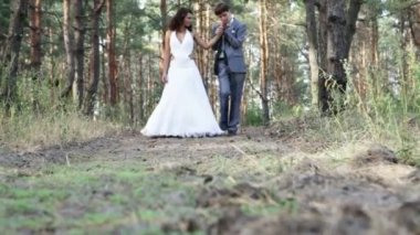 Married couple in pine forest — Stock Video