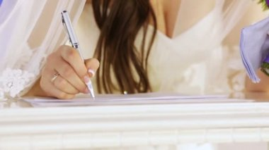 Signature in the marriage contract — Stock Video