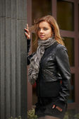 Beautiful girl in autumn coat — Stock Photo