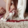 Bridesmaid helps in getting dressed wedding shoes — Stock Video