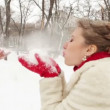 Newlyweds are blowing each other with snow — Stock Video