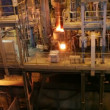 Stock Video: Melting steel samples results in an electric furnace