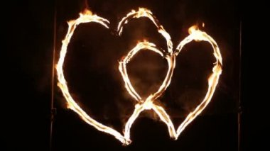 Two hearts glowing wire — Stock Video